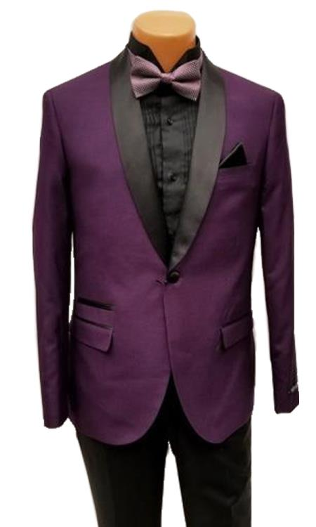 Product# JS382 Mens One Button Shawl Lapel Purple Prom Wedding Black and Purple Tuxedo Clearance Sale Online