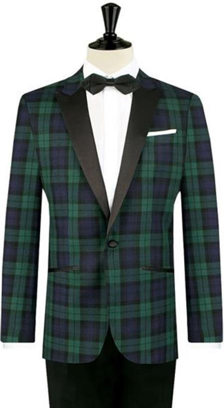 Product# MO450 Mens One Button Tartan Designed Slim Fit Tuxedo