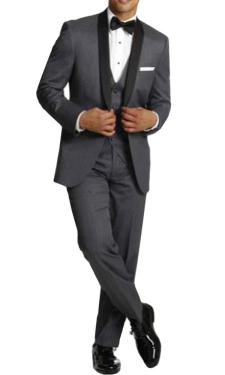men's One Button Tuxedo Shawl Black Lapel gray vested Suit