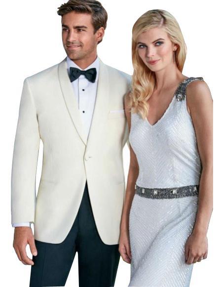men's One Button Tuxedo Shawl Lapel Ivory wedding Suit