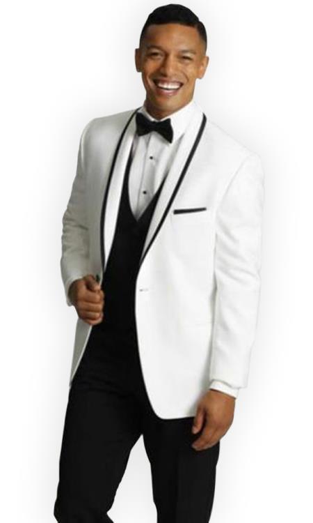men's One Button Tuxedo Trimmed Shawl Lapel white Suit