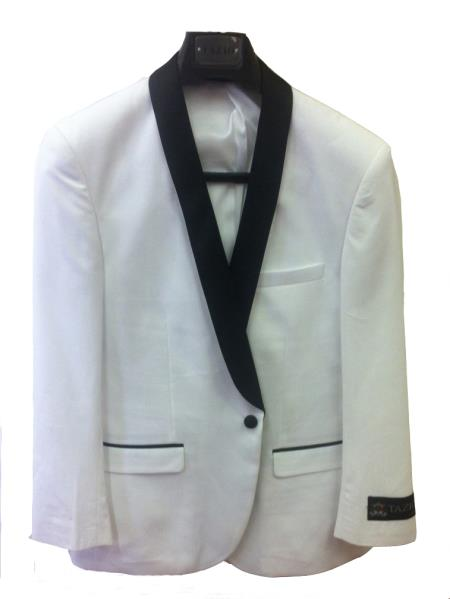 Product# 7Z3C One Button Slim narrow Style Fit formal tux Jacket White with Liquid Jet Black Lapel