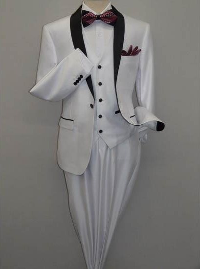 Men's Shawl Tuxedo Slim Fitted 3 Piece Two Toned Shiny Flashy Sharkskin White Suit