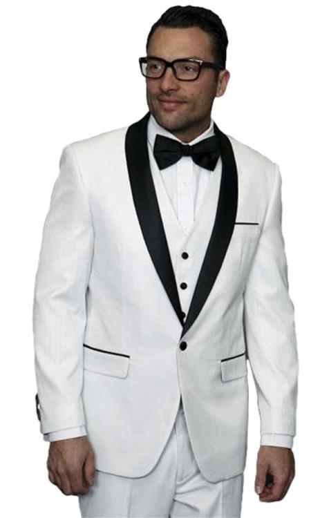 men's one button white vested tuxedo suit with black shawl lapel