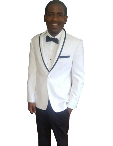 men's Single Breasted Trimmed Shawl Lapel white tuxedo suit