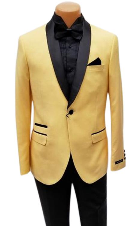 Product# JS384 Mens One Button Shawl Lapel Yellow Prom Wedding Tuxedo Clearance Sale Online