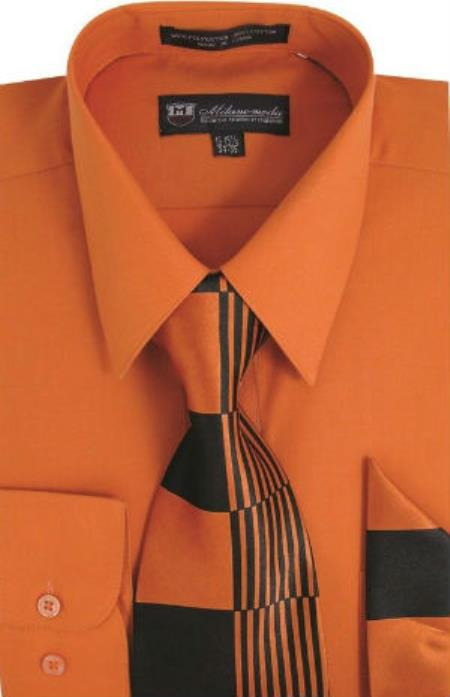 Milano Moda Classic Cotton Dress Shirt with Ties and Handkerchiefs Orange