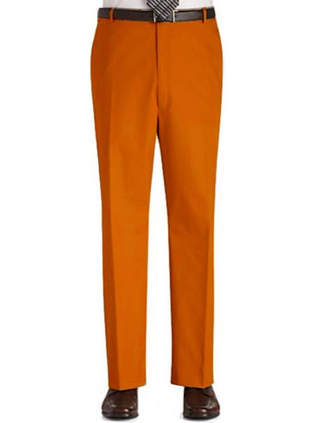 Product# OPD1 Stage Party Pants Trousers Flat Front Regular Rise Slacks - Orange