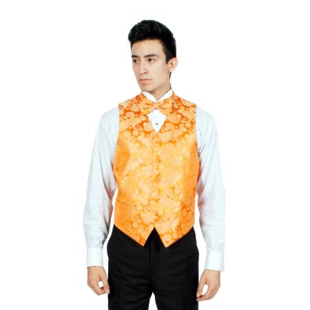 Orange Paisley Vest Bowtie Necktie And Handkerchief Set