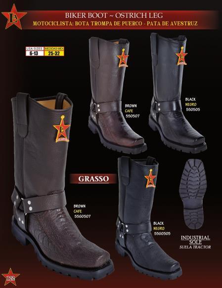 Product# B2S Authentic Los altos Genuine Ostrich Leg Biker Cowboy Western Boots Diff. Colors