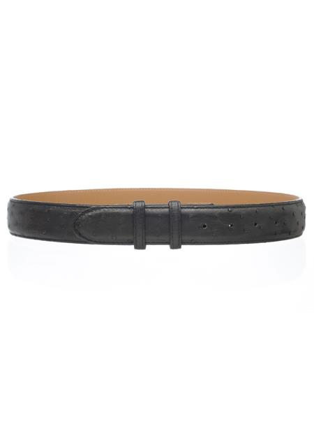 Product# JSM-4760 Black Men's Genuine Full Ostrich Quill Belt 1 1/2'' width