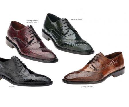 Product# TA-52 Genuine Eel / Ostrich Leg Shoes for Online Black, Antique Red/Scarlet Red, Dark Forest, Antique Camel ~ Khaki