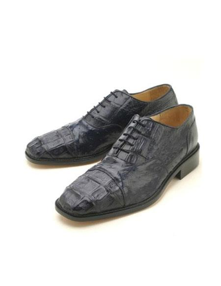 Product# HKL225 Oxfords Navy Croc & Ostrich Lace-Up