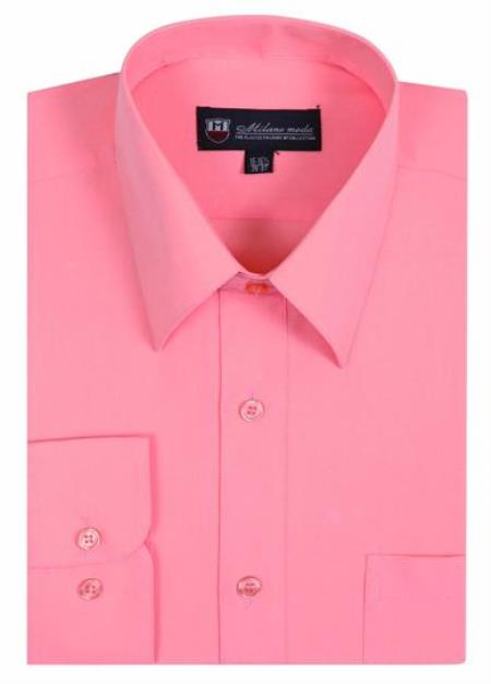 Men's Plain Solid Color Traditional Dress Shirt Peach