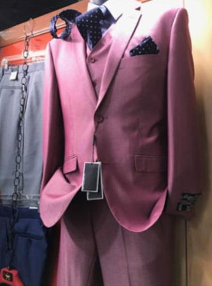 Mens 2 Button Pink Suit Vested Suit Notch Lapel Suit