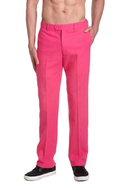 Product# AA474 Cotton Dress Pants Trousers Flat Front Slacks Hot Pink