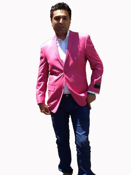 Product# H22G Stage Party Bright Sport Coat / Dinner Jacket Blazer Online Sale Vented Hot Pink Fuchsia ( color)