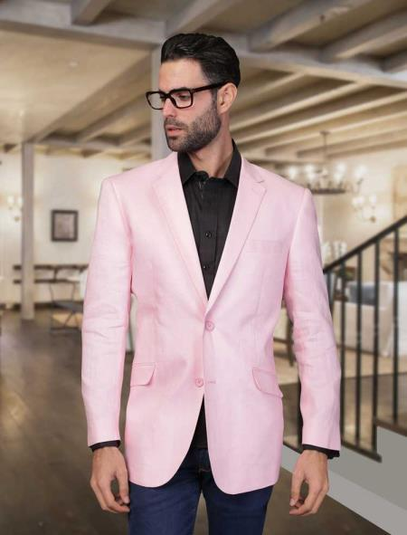 Product# BC-37 Summer Men's 2 Piece Linen Causal Outfits Light Weight Blazer Online Sale ~ Sport coat ~ Jacket Light Pink / Beach Wedding Attire For Groom