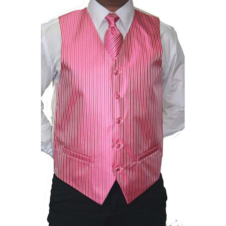 Pink Four-Piece, Five-button Suit or Tux Vest for