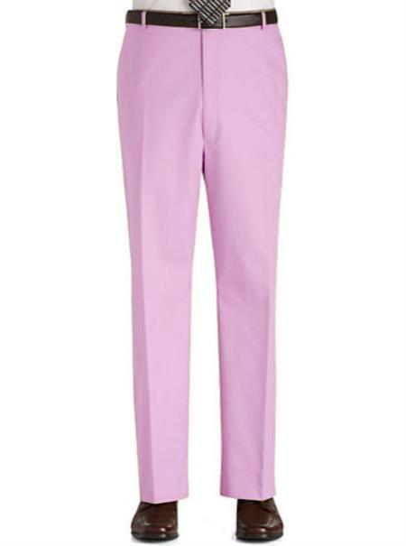 Product# PK3N Stage Party Pants Trousers Flat Front Regular Rise Slacks - Pink