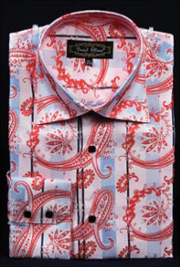 Product# JSM-2752 Men's Fancy Shiny Paisley High Collar Pink Dress Shirt