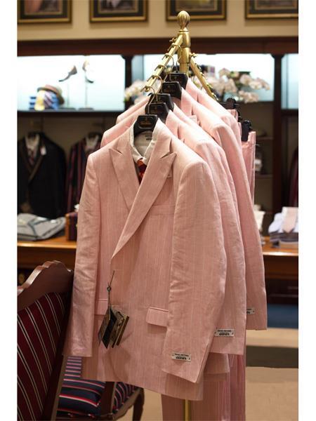 Pink Striped Linen Suit