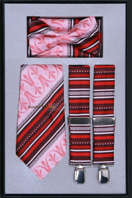 Product# SK72 Suspender, Tie, Bow Tie ~ Bowtie and Hanky Set Pink