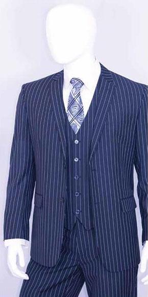 Men's 2 Buttons Bold Chalk White Stripe With Vest 3 Pieces Indigo Cobalt Blue and Pinstripe