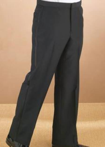 Product# QY52L Polyester Plain Front Liquid Jet Black Tuxedo Pants