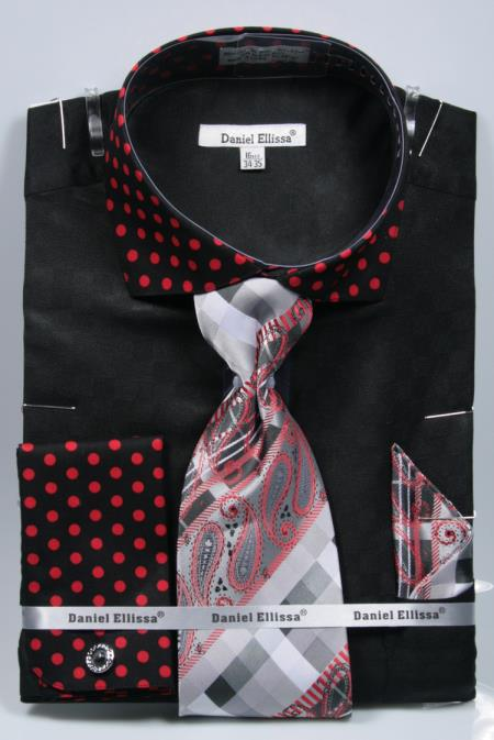 Product# SD21 Polka Dot Dress Shirts French Cuffed Matching Black/Red Shirt & Tie Combo Set