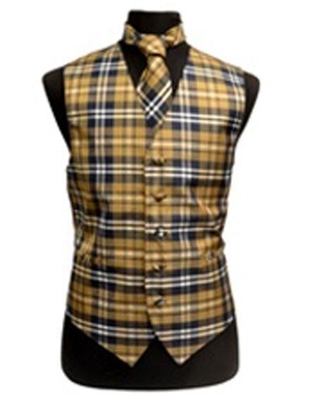 Product# JSM-3286 Men's Slim Fit Polyester Plaid Design Dress Tuxedo Vest/Bow Tie Fashion Set Navy/White/Brown