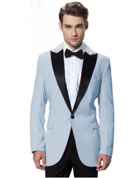 Product# CH2251 Men's Powder Blue Jacket Black Lapel Tuxedos with Black Pant One Button Elegant Slim Fit Wedding Suit