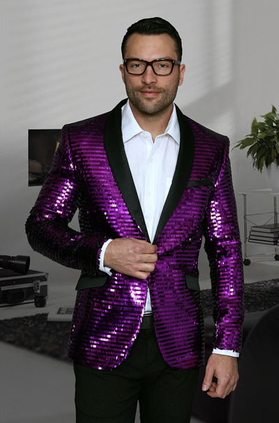 Product# JSM-2698 Men's Unique Shiny Fashion Prom Sequin Paisley 1 Button Purple Blazer Dinner Jacket Sport Coat Jacket Sharkskin Flashy Stage Perfect For Prom Clothe - Prom Outfits For Guys
