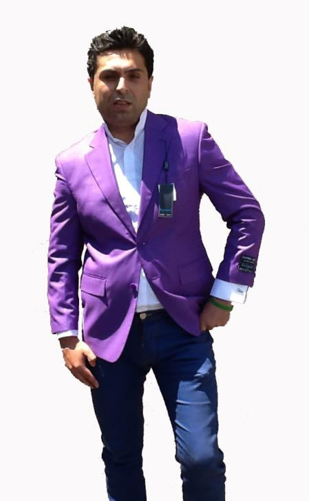 Product# T73C Stage Party Bright 2 Button Style Sport Coat / Dinner Jacket Blazer Online Sale Purple color shade Color