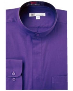 Product# G-78K Band Collar Dress Shirts Purple color shade
