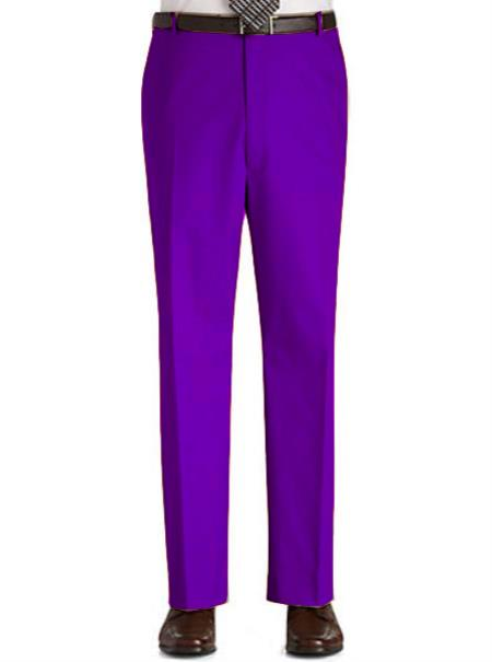 Product#PR2L Stage Party Pants Trousers Flat Front Regular Rise Slacks - Purple color shade
