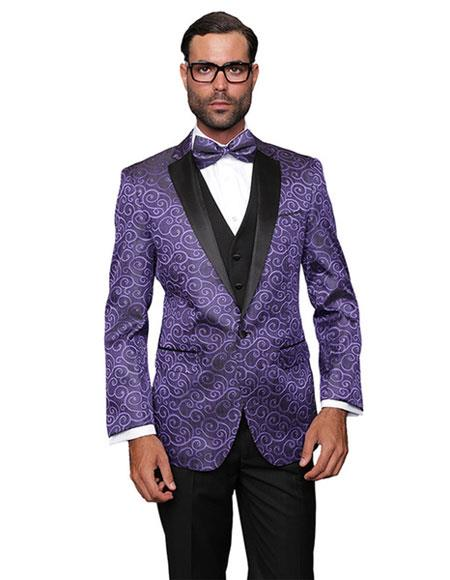 men's Purple Sequin Paisley Dinner Jacket Black and Purple Tuxedo Looking Party Entertainer  Blazer Sport coat Two toned Black Lapel