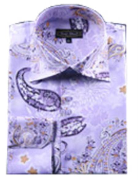 Product# FD19 Fancy Shirts Purple color shade (100% Polyester) Flashy Shiny Satin Silky Touch