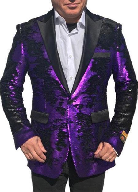 Alberto Nardoni Best men's Italian Suits Brands Shiny Flashy Sequin Black and Purple Tuxedo Black Lapel paisley look Purple sport jacket ~ coat