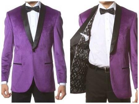 Product# PN_I21 Velvet Shawl Collar Dinner Smoking Velour Jacket Notch Lapel, Slim narrow Style Fit Purple color shade