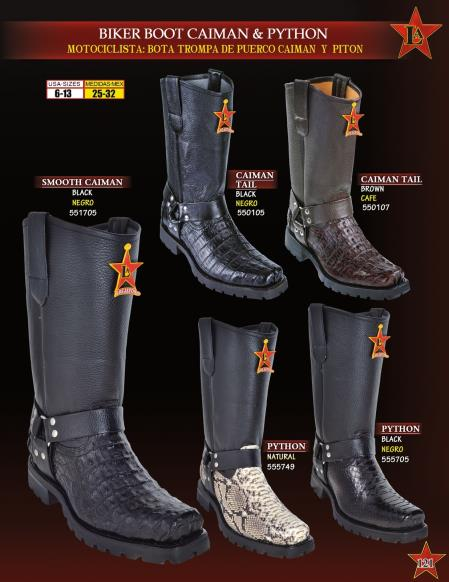 Product#Q21D Authentic Los altos Genuine cai ~ alligator/Python ~ Snake Biker Cowboy Western Boots Diff. Colors