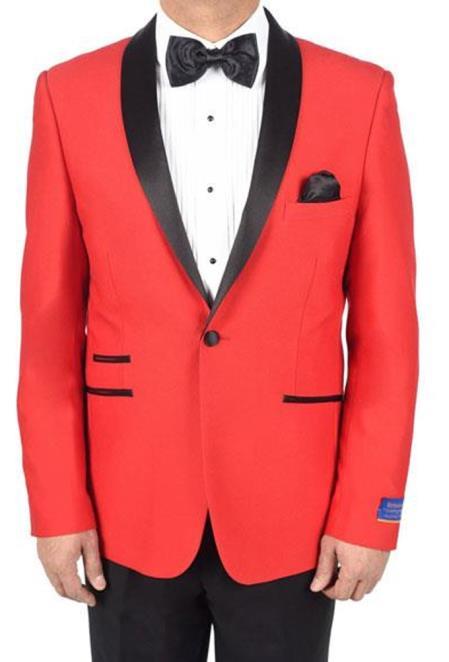 men's Red 1 Button Viscose Blend Tuxedo Solid Pattern Shawl Lapel Dinner Jacket