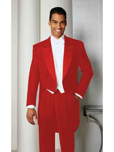 Hot red color shade Basic Full Dress Tailcoat With Peak Lapel