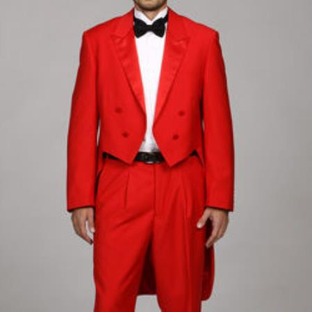 Product# JSM-377 Men's Red Tail Tuxedo Tux Tailcoat Tuxedo Suit