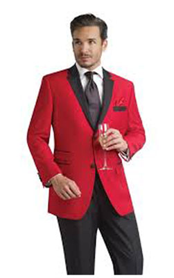 Product# P-628N red color shade formal tux Jacket with Liquid Jet Black Notch Lapel & Liquid Jet Black Trousers