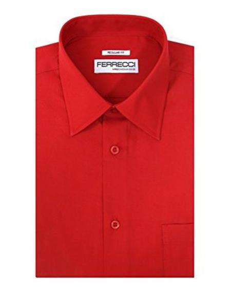 Product# JSM-1862 Men's Ferrecci Lay Down Collared Regular Fit Cotton Blend Red Dress Shirt