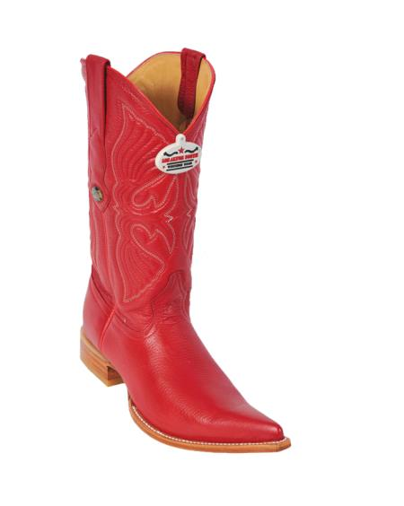 Product# T11F Authentic Los altos red color shade Deer 3X-Toe Cowboy Boots