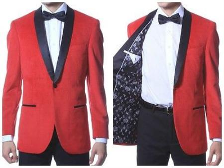 Product# PN96 Velvet Shawl Collar Dinner Smoking Velour Jacket Notch Lapel, Slim narrow Style Fit red color shade