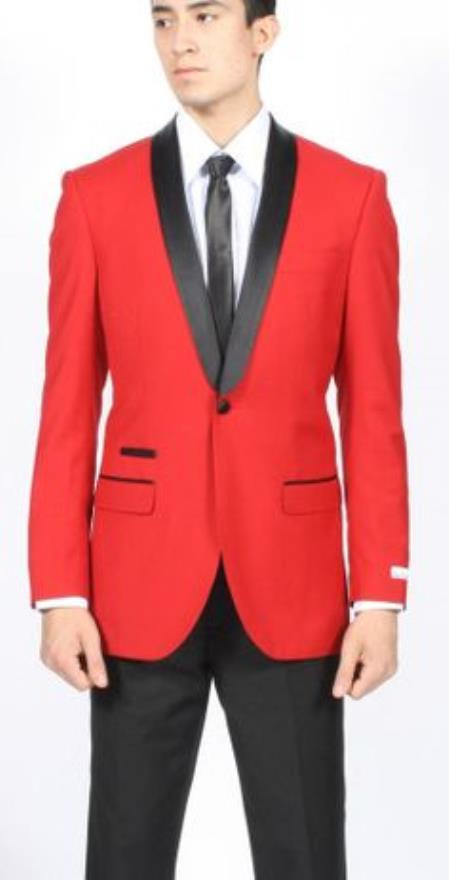 Product# SD206 Red Dinner Jacket Tuxedo Suit and Black Lapel + Black Pants