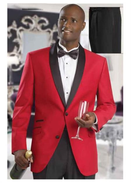 Product# SD207  Mens Red Formal Attire Dinner Jacket Tuxedo Suit and Black Lapel Black Pants